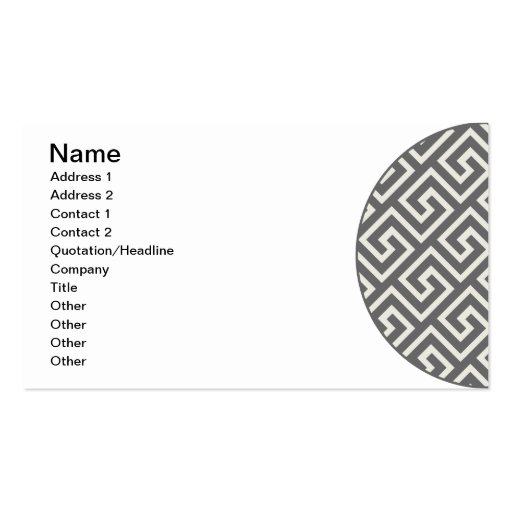 Geometric Greek Key Pattern Elegant Graphic Design Business Card