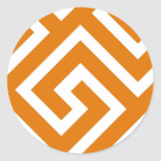 Geometric Greek Key Pattern Orange Design Classic Round Sticker