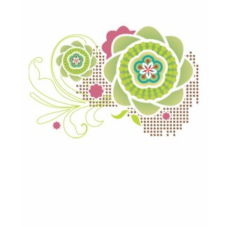 Geometric Green and Pink Flower Blossoms Shirt