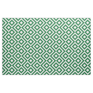 Geometric Green and White Meander Fabric