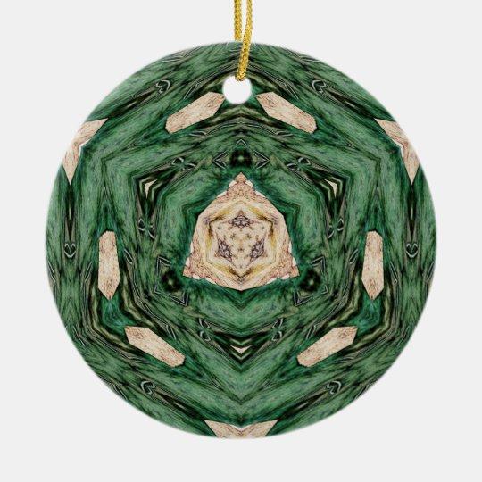Geometric Green Ceramic Ornament