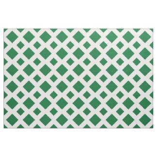 Geometric Green Diamonds on White Fabric