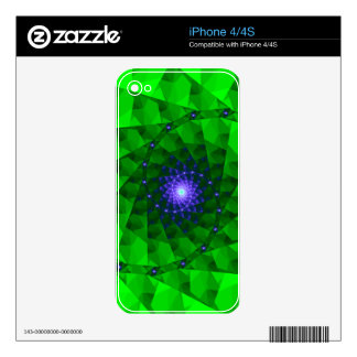 Geometric Green Fractal Decal For iPhone 4