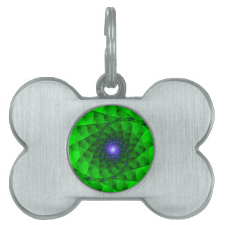Geometric Green Fractal Pet ID Tag