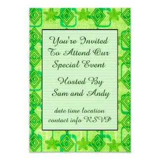 Geometric Green Leaves Card