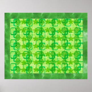Geometric Green Leaves Print
