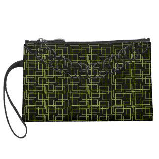 Geometric Green Luxury Baguette Black Chain Suede Wristlet Wallet