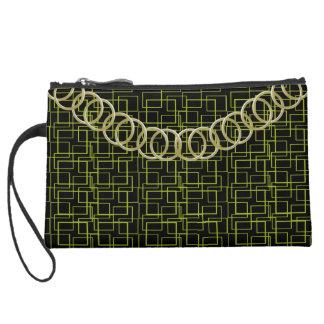 "Geometric Green Luxury Baguette ""Old Gold"" Chain Suede Wristlet Wallet"