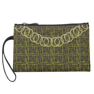 """Geometric Green Luxury Baguette """"OldGold"""" Chain Suede Wristlet Wallet"""