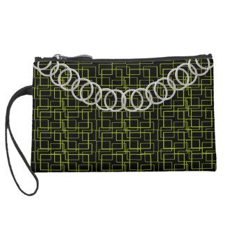 Geometric Green Luxury Baguette Silver Chain Suede Wristlet Wallet