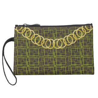Geometric Green Luxury Sueded Baguette Brown Suede Wristlet