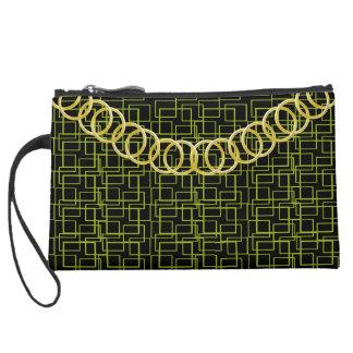 Geometric Green Luxury Sueded Baguette Clutch