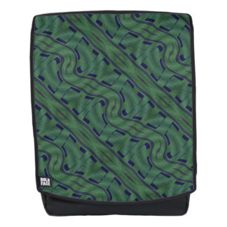 Geometric Green with Blue Shapes Abstract Backpack