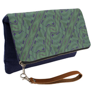 Geometric Green with Blue Shapes Abstract Clutch