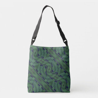 Geometric Green with Blue Shapes Abstract Crossbody Bag