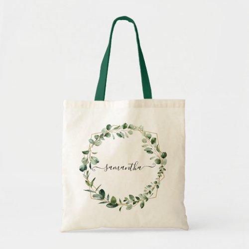 Geometric Greenery Eucalyptus Leaves Personalized Tote Bag