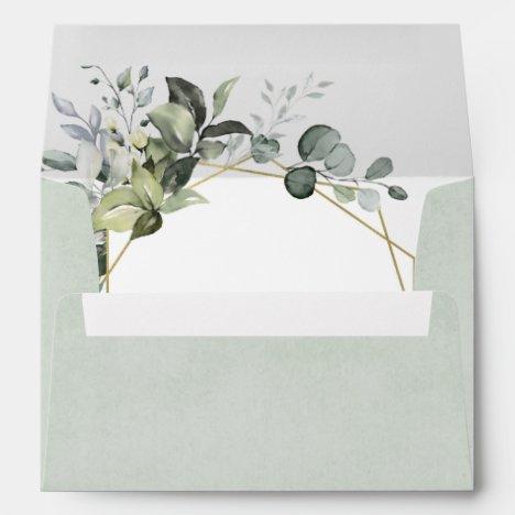 Geometric Greenery Modern Gold Succulent Wedding Envelope