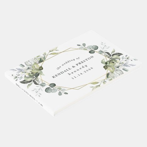 Geometric Greenery Modern Gold Succulent Wedding Guest Book