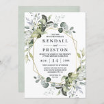 """Geometric Greenery Modern Gold Succulent Wedding Invitation<br><div class=""""desc"""">Design features eucalyptus,  succulents and greenery elements in shades of dusty sage and blue/gray with a printed gold colored geometric terrarium border wreath frame.  The back features a dusty sage green natural matching watercolor background.</div>"""
