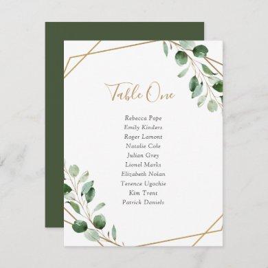 Geometric Greenery Wedding Table Seating Cards