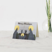 Geometric Grey Gold Nativity Scene Christmas Card