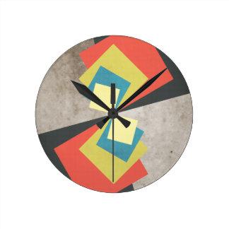 Geometric Grunge Squares Round Clock