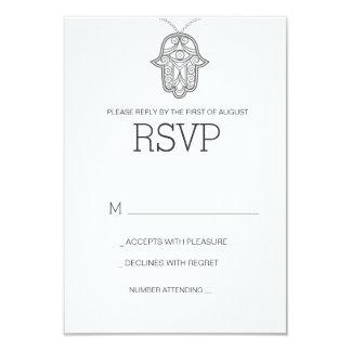 Geometric Hamsa wedding RSVP card-gray Card