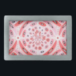 """Geometric harmony rectangular belt buckle<br><div class=""""desc"""">Geometric digital art in light tones of red and pink with a few black details.</div>"""