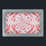 "Geometric harmony rectangular belt buckle<br><div class=""desc"">Geometric digital art in light tones of red and pink with a few black details.</div>"