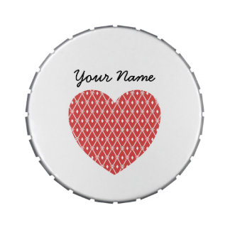 Geometric Heart Shaped Pattern Personalized Jelly Belly Candy Tin