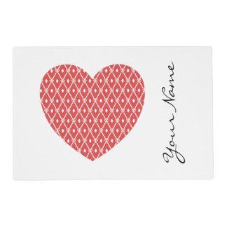 Geometric Heart Shaped Pattern Personalized Placemat