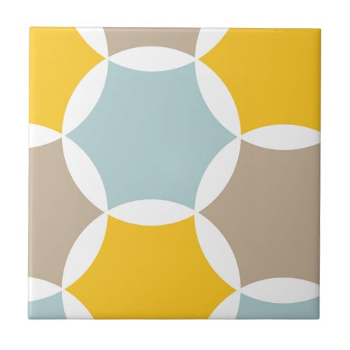 Geometric Hexagon Circle Yellow Blue Pattern Ceramic Tile