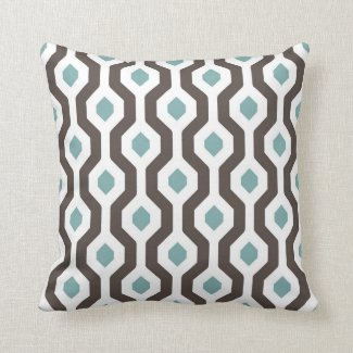 Geometric Hexagon Link Pattern Teal Brown Pillows