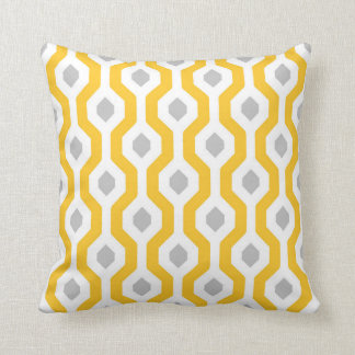 Geometric Hexagon Link Pattern Yellow Grey Throw Pillow