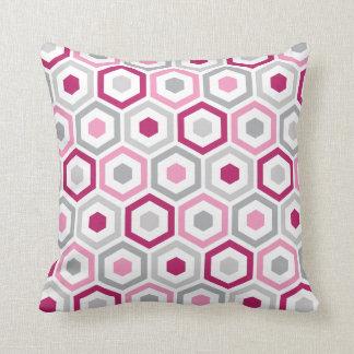 Geometric Hexagon Pattern Pillow   Berry Pink Grey