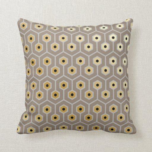 Geometric Hexagons Pattern Taupe Gray Black Cream Throw Pillow Zazzle