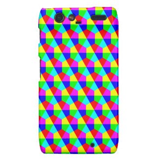 Geometric hexagons red yellow green blue pink droid RAZR cases
