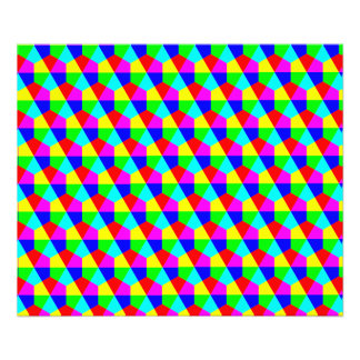 Geometric hexagons red yellow green blue pink photo print