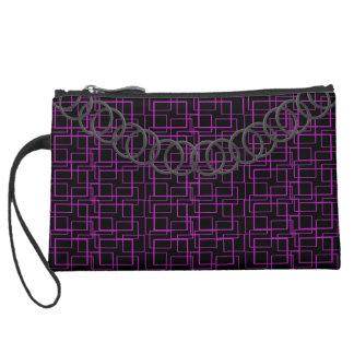 Geometric Hot Pink Luxury Baguette Pewter Chain Suede Wristlet Wallet