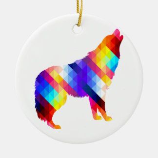 Geometric Howling Wolf Ceramic Ornament