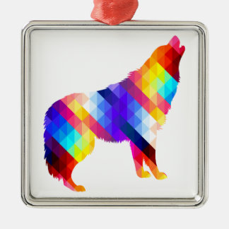 Geometric Howling Wolf Metal Ornament