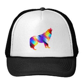 Geometric Howling Wolf Trucker Hat