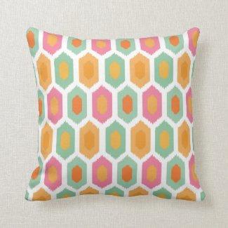 Geometric Ikat Coral Seafoam Throw Pillow
