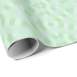 Geometric In Soft Green Shades Wrapping Paper
