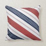Geometric Independence Day Diagonal Stripes Throw Pillows
