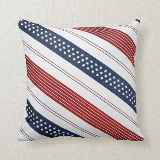 Geometric Independence Day Diagonal Stripes Throw Pillow
