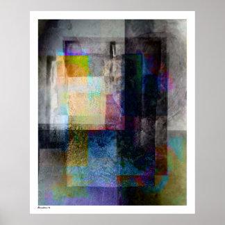 Geometric Industrial Grunge Art 3 Posters
