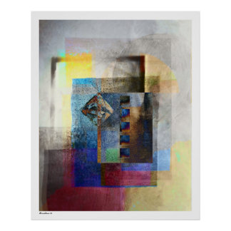 Geometric Industrial Grunge Art 4 Posters