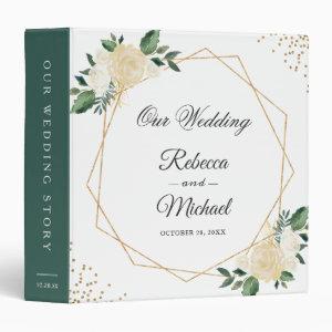 Geometric Ivory White Floral Gold Wedding Albums 3 Ring Binder