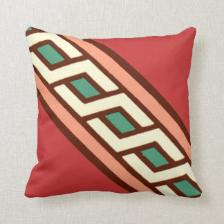 Geometric Jade Salmon Moyen Age Medieval Design Throw Pillow